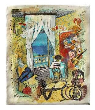"""Olga Roubin- Original Acrylic On Canvas """"Violin Case"""""""