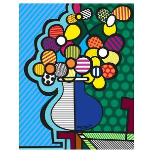 "Romero Britto ""New Flower"" Hand Signed Giclee on Canvas;"