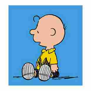 "Peanuts, ""Charlie Brown: Blue"" Hand Numbered Canvas"
