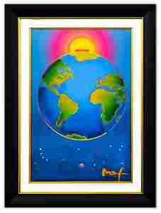 "Peter Max- Original Mixed Media ""Earth"""