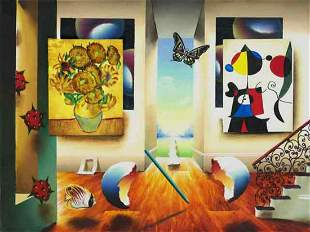 "Ferjo ""MIRO AND SUNFLOWERS"" Giclee on Canvas"