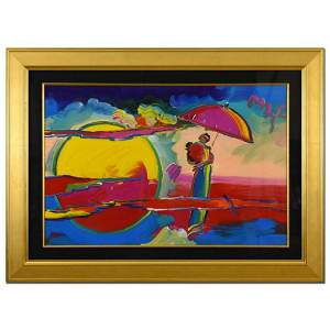 "Peter Max, ""New Moon II"" Framed One-Of-A-Kind Acrylic"