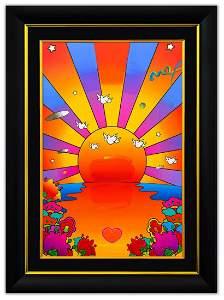 "Peter Max- Original Mixed Media ""Sunrise"""