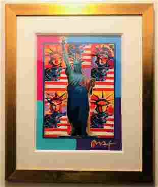 """Peter Max Mixed Media Acrylic on paper """"Statue of"""