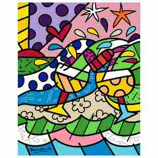 """Romero Britto """"Wine Country Yellow"""" Hand Signed Limited"""