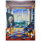 "Ferjo, ""Capitol View"" Original Painting on Canvas, Hand"