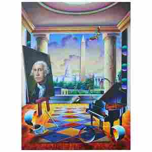 """Ferjo, """"Capitol View"""" Original Painting on Canvas, Hand"""