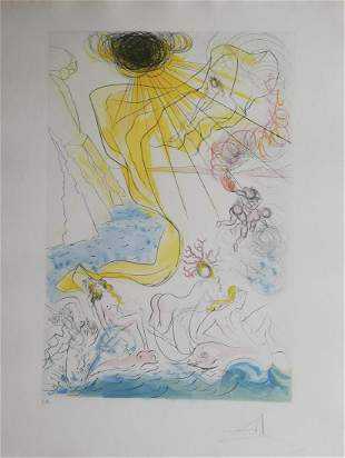 Salvador Dali Drypoint with hand-colouring in
