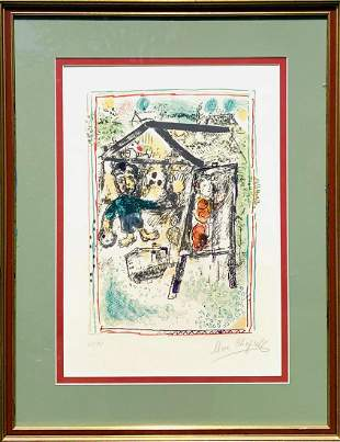 """Marc Chagall  Lithograph on paper  """"The Artist and the"""