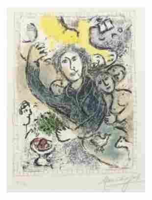 """MARC CHAGALL Lithograph in colors """"The Artist II (M."""