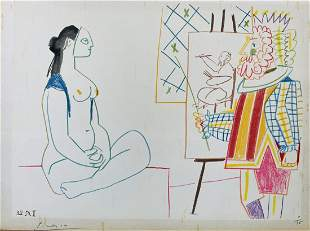 PABLO PICASSO lithograph in colors, 1954, on paper