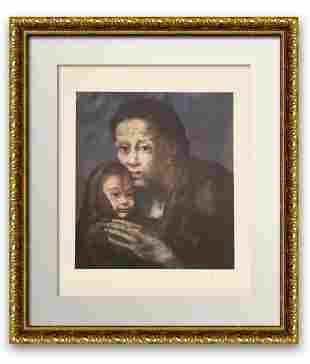 """Pablo Picasso OFFSET COLOR LITHOGRAPH ON PAPER """"Mother"""