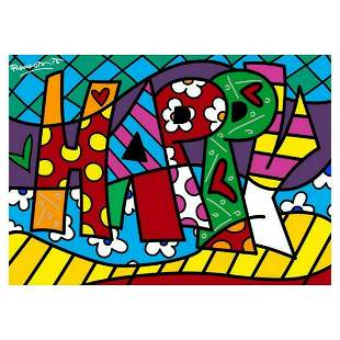 "Romero Britto ""Happy Mini Word"" Hand Signed Giclee on"