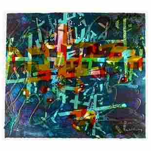 """Yankel Ginzburg, """"City In Blue"""" Hand Signed Limited"""