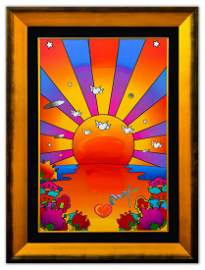 "Peter Max- Original Mixed Media ""Sunrise"""
