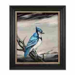 "Martin Katon, ""Eli Grey Bluejay"" Framed Original Oil"