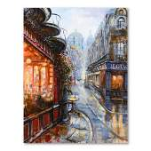 "Vadik Suljakov, ""Paris in the Rain"" Original Oil"
