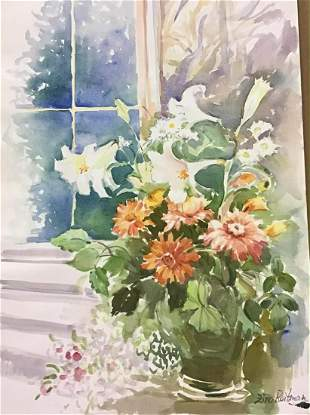 "Zina Roitman- Original Watercolor ""Bouquet at the"