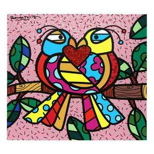 """Romero Britto """"Love Birds (Pink)"""" Hand Signed Limited"""