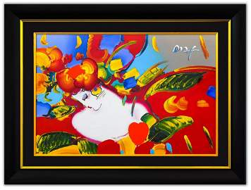 "Peter Max- Original Mixed Media ""Flower Blossom Lady"""