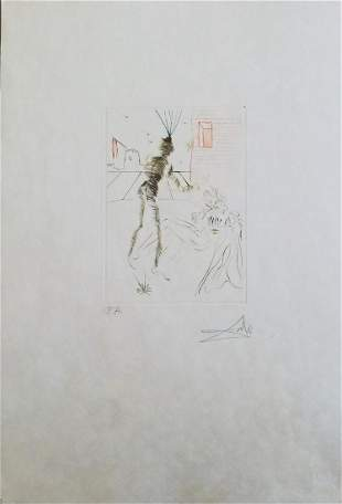 """Salvador Dali Drypoint etching in colors """"From the"""