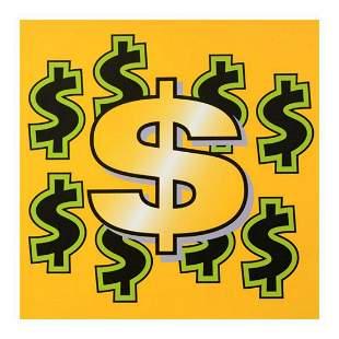 "Steve Kaufman (1960-2010) ""Dollar Sign (Yellow)"""