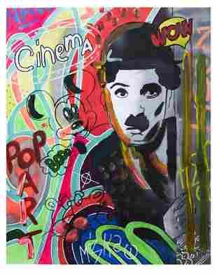 """Nastya Rovenskaya- Mixed Media """"Chaplin Is Hiding"""""""