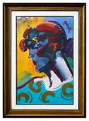 "Peter Max- Original Mixed Media ""Palm Beach Lady"""