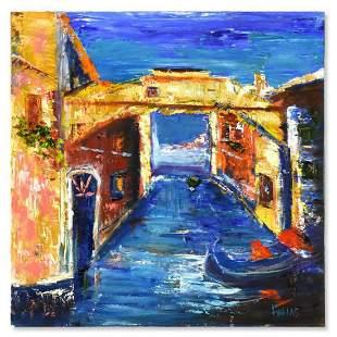 "Elliot Fallas, ""Venice Amore"" Original Oil Painting on"