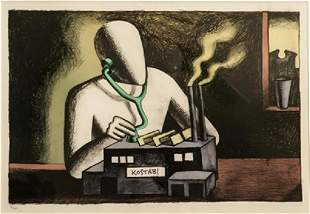 """Mark Kostabi  Limited edition lithograph  """"Factory"""""""