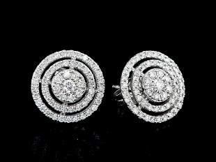14kt White Gold 0.88 ctw Diamond Earrings