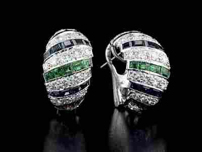 18kt White Gold 1.36 ctw Diamond Earrings