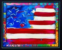 """Peter Max- Serigraph """"Flag"""""""