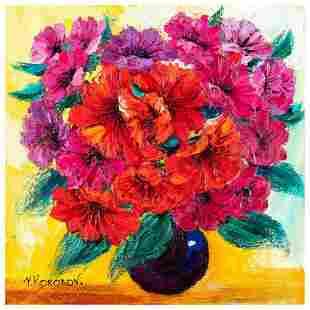 "Yana Korobov, ""Enchanted by Flowers"" Original Acrylic"