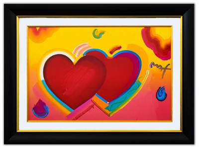 "Peter Max- Original Mixed Media ""Two Hearts As One"""