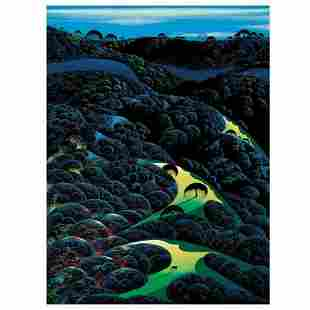 "Eyvind Earle (1916-2000), ""Three Pastures On A"