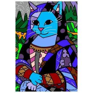 "Romero Britto ""New Mona Cat"" Hand Signed Giclee on"
