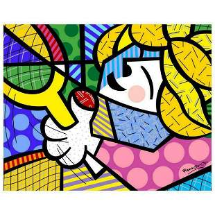 """Romero Britto """"Tennis Pro"""" Hand Signed Giclee on Canvas;"""