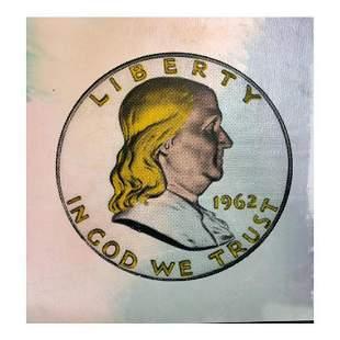 "Steve Kaufman (1960-2010) ""1962 Liberty Coin"" Hand"