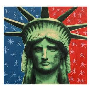 "Steve Kaufman (1960-2010) ""Liberty Head"" Hand Painted"