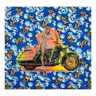 "Steve Kaufman (1960-2010) ""Biker Gal"" Hand Signed and"