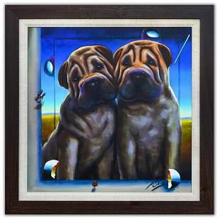 "Ferjo- Original Oil on Canvas ""Two Shar Pei Puppies"""