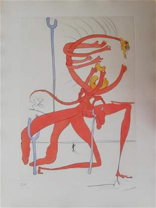 Salvador Dali Figure rouge avec portrait de Quevedo,