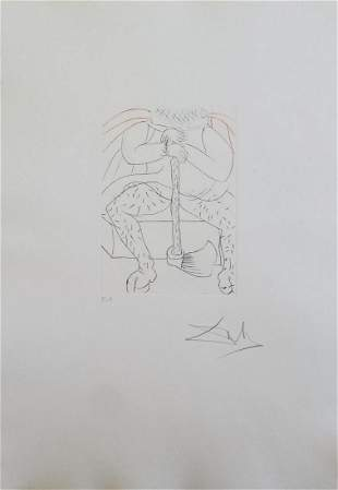 "Salvador Dali Drypoint etching in colors ""From the"