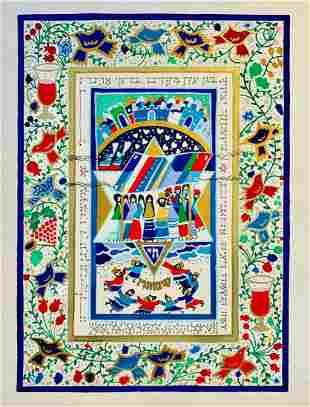 Raphael Abecassis Original Gouache painting on paper