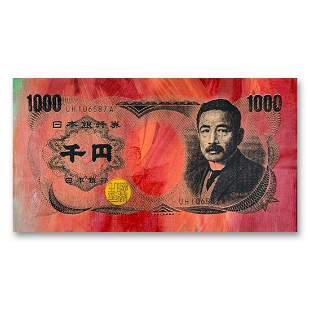 "Steve Kaufman (1960-2010) ""Japanese Money (1000)"" Hand"