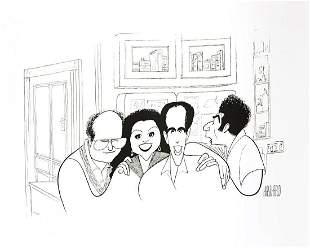 "Al Hirschfeld- Original Lithograph on Paper ""Seinfeld"