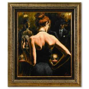 """Fabian Perez, """"Girl with Red Hair"""" Framed Hand"""