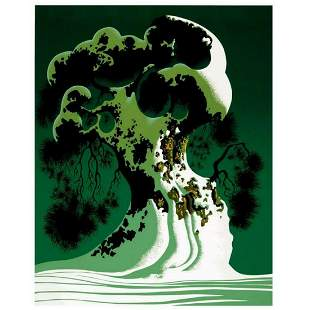 "Eyvind Earle (1916-2000), ""Snow Covered Bonsai"" Limited"