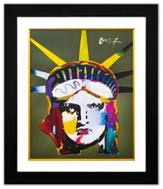 "Peter Max- Original Mixed Media ""Liberty Head"""